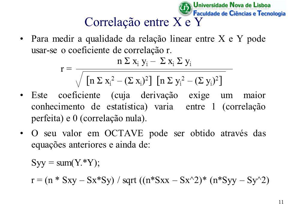 Correlação entre X e Y [n Σ xi2 – (Σ xi)2] [n Σ yi2 – (Σ yi)2]